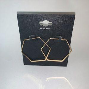 ⭐️2/$12 gold-tone HEXAGON earrings by Target